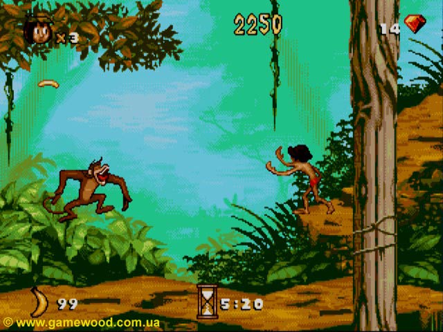 Скриншот игры The Jungle Book | Sega Mega Drive 2 (Genesis) | Наш Маугли